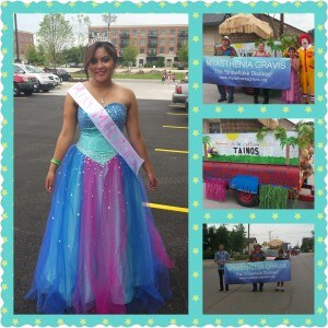 Ben Maravilla's granddaughter takes on the role of Miss MG at Aurora's Puerto Rican Heritage Parade, July 2015.