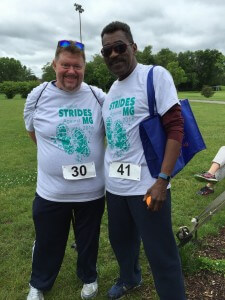 Mike Brady (left) with teammate Lewis at the Strides Walk